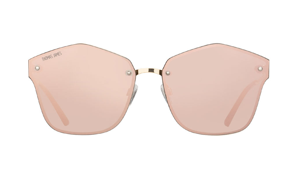 01-RoseGold: Rose Gold mirror lens in geometric shape.  With gold metal  ghost frame and gold metal temple - UV400