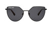 01-Dolls: Geometric shape in black metal frame with the solid black lens with black ear tip.   POLARIZED.  UV400