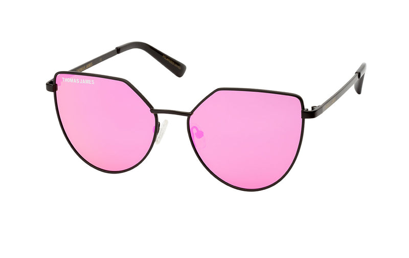 02-SpritFlag: Geometric shape in matte black metal frame with the cherry pink mirror lens with black ear tip.   POLARIZED.  UV400