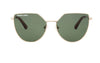 03-Spell: Geometric shape in gold metal frame with the solid classic green lens with matte brown ear tip.   POLARIZED.  UV400