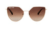 04-Amulet: Geometric shape in glossy gold metal frame with the gradient brown lens with matte brown ear tip.   POLARIZED.  UV400