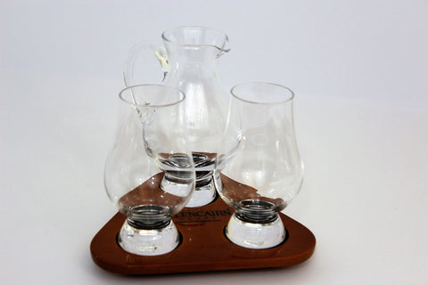 Glencairn Official 2 Glasses and Jug Whisky Flight Tasting Tray