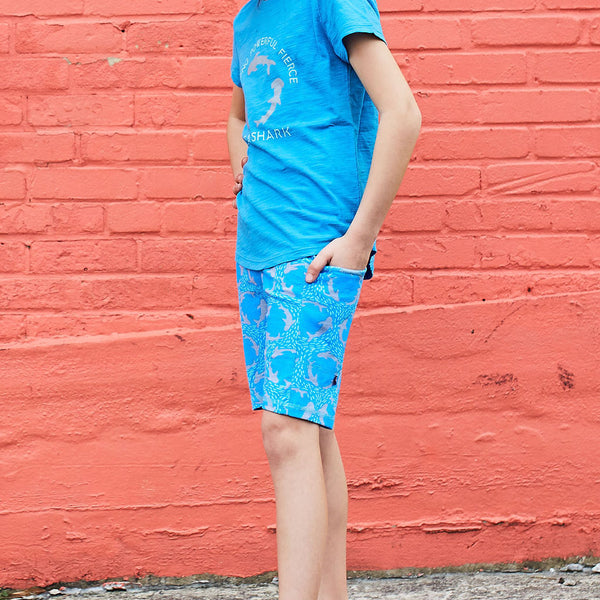 """Fiercely Jaw-some"" Sharks Shorts with Pockets"