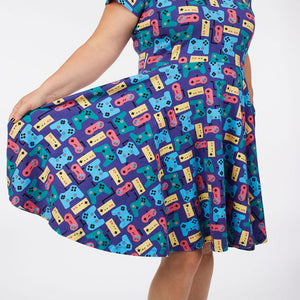 """Control Chic"" Video Games Short Sleeve Super Twirler Dress - Adult"