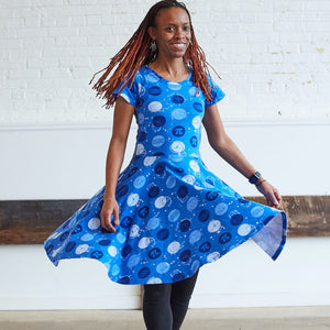 """Blueberry Pi"" Math Dots Short Sleeve Super Twirler Dress - Adult"