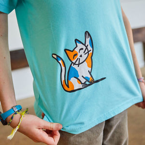 Curious Cats Short Sleeve Henley Shirt