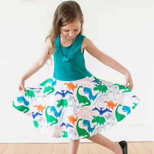 """Mesozoic Mischief"" Dinosaurs Twirly Play Dress"