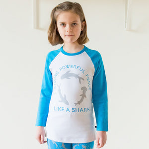 """Strong, Powerful, Fierce"" Sharks Raglan Shirt"