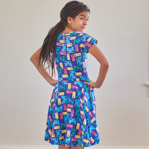 """Control Chic"" Video Games Short Sleeve Super Twirler Dress"