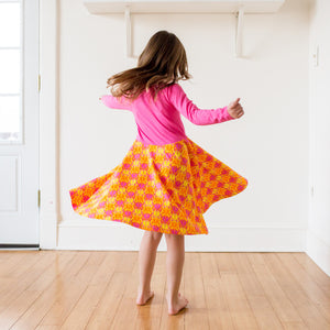 """BeetleBrite"" Bugs Twirly Play Dress with Long Sleeves"