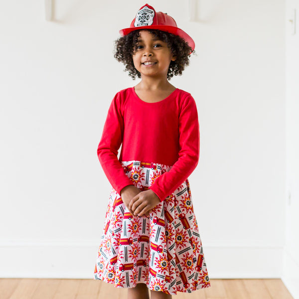 """Rescue Ready"" Fire Engine Twirly Play Dress with Long Sleeves"