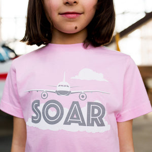 """SOAR"" Pink Airplane Tee Shirt by Free to Be Kids"