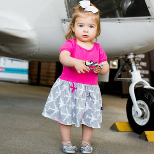 """AirHeart"" Airplanes Infant Snapsuit Dress"