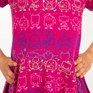 """Boogie Bots"" Robots Short Sleeve Super Twirler Dress"