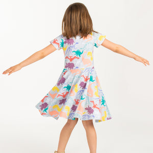 """Mesozoic Mischief"" Dinosaurs Short Sleeve Super Twirler Dress"