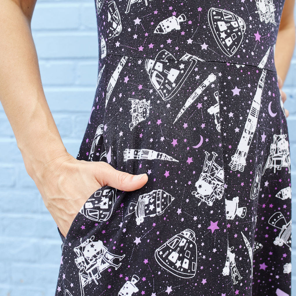 """One Giant Leap"" Moon Landing Anniversary Knee-Length Stretchy Sleeveless Dress - Adult"