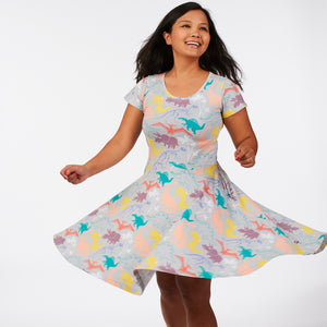 """Mesozoic Mischief"" Dinosaurs Short Sleeve Super Twirler Dress - Adult"