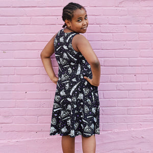 """One Small Step"" Moon Landing Knee-Length Stretchy Sleeveless Play Dress"