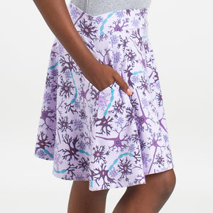 """Myelin Chic"" Neurons Stretchy Knee-Length Twirly Skirt"