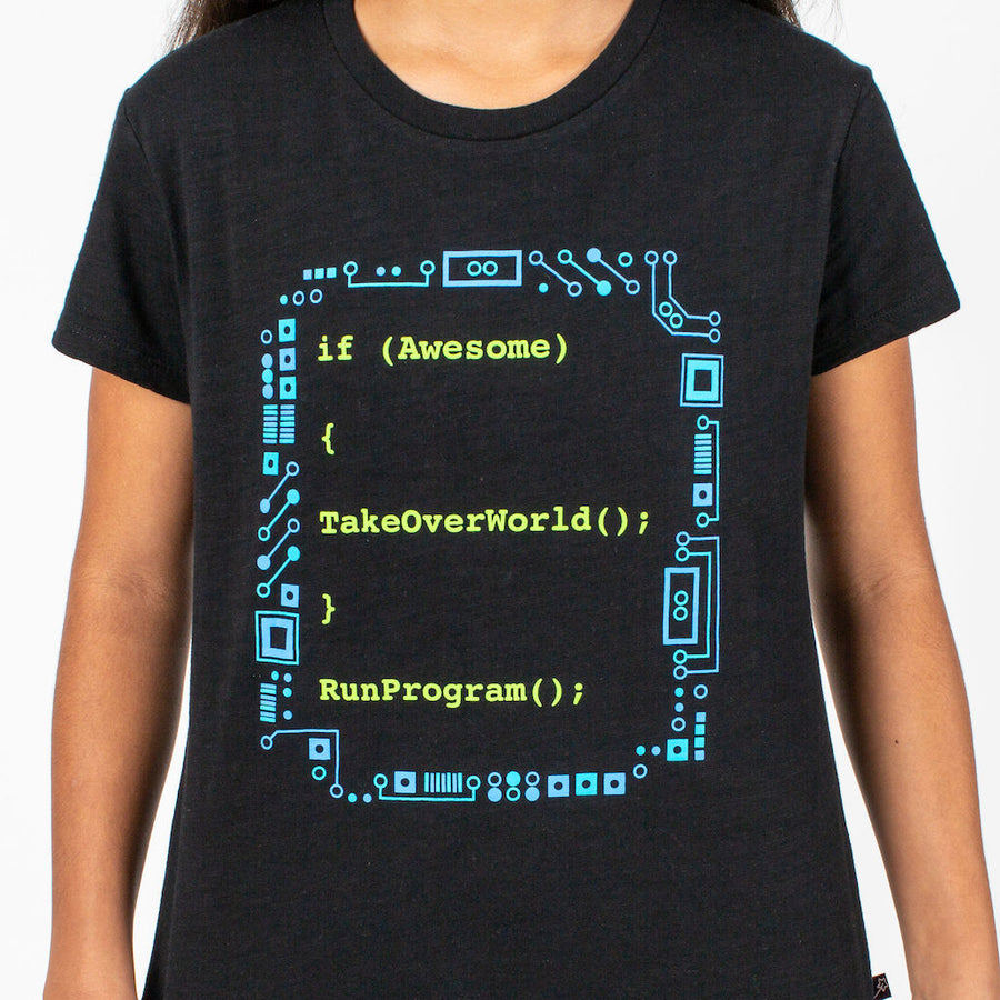 """If Awesome, Take Over World"" Computer Programming Youth T-Shirt"