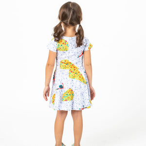 """Sea Her Shine"" Ocean Explorer Short Sleeve Super Twirler Dress"