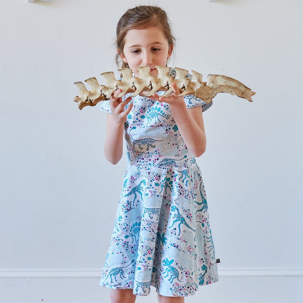 """Fossils Forever"" Dinosaurs Short Sleeve Super Twirler Dress"