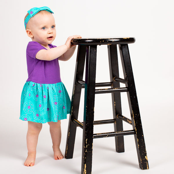 """Up and Atom"" Chemistry Infant Snapsuit Dress"