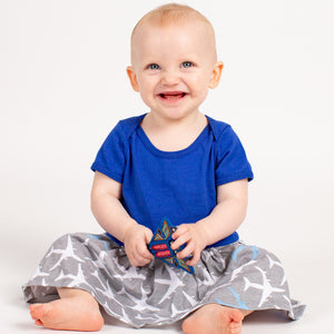 """True Blue"" Airplanes Infant Snapsuit Dress"