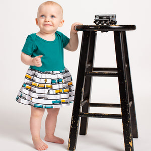 """ENGINEuity"" Trains Infant Snapsuit Dress"