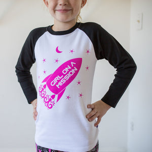 """Girl on a Mission"" Rockets Raglan Shirt"