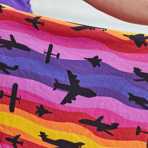 """Twilight Takeoff"" Sunset Airplanes Short Sleeve Super Twirler Dress"