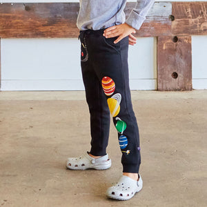 Solar System Fuzzy Fleece Jogger Pants