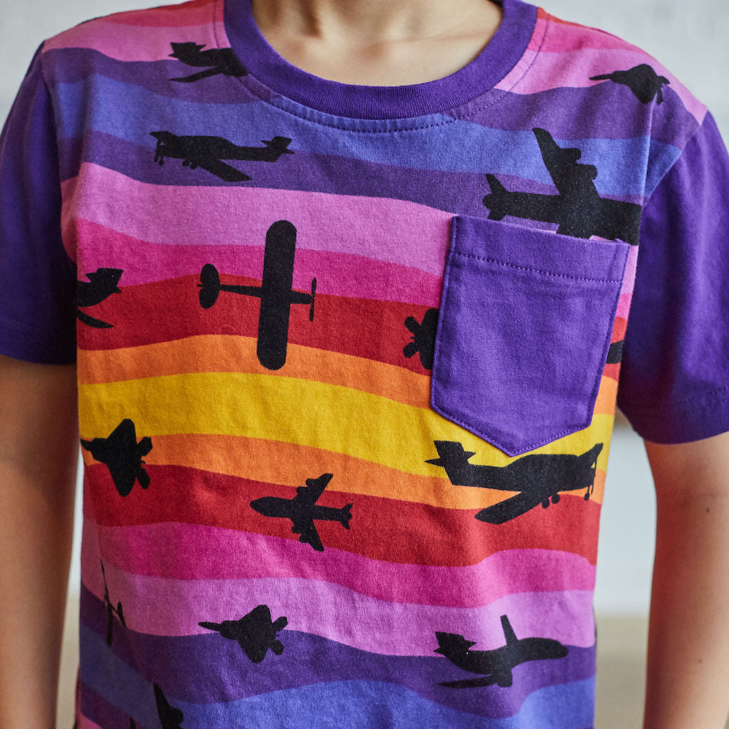"""Twilight Takeoff"" Sunset Airplanes Short Sleeve Pocket Tee"