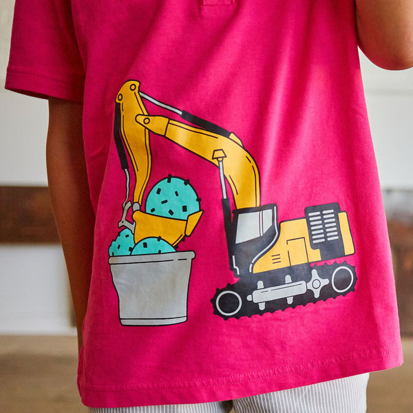 Super Scooper Ice Cream Digger Short Sleeve Henley Shirt