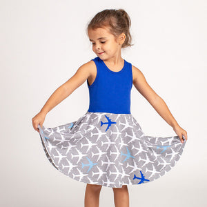 """True Blue"" Airplanes Twirly Play Dress"
