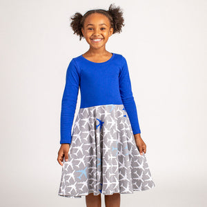 """True Blue"" Airplanes Twirly Play Dress with Long Sleeves"