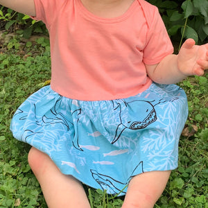 """Hello Chum"" Sharks Infant Snapsuit Dress"
