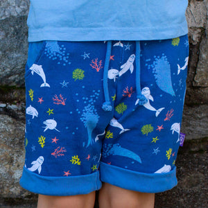 """Deep Sea Dreaming"" Dolphins Drawstring Cuffed Shorts with Pockets"