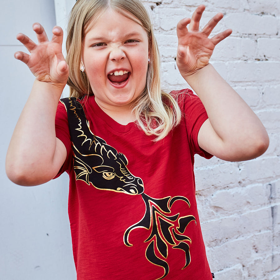 Fierce Shoulder Dragon V-Neck Short Sleeve Shirt
