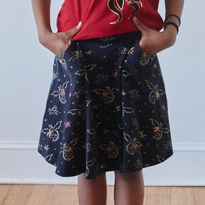 """Fire Flight"" Dragons Stretchy Knee-Length Twirly Skirt"