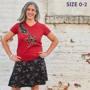 """Fire Flight"" Dragons Stretchy Knee-Length Twirly Skirt - Adult"