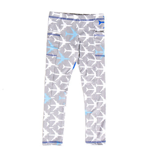 """True Blue"" Airplanes Leggings with Pockets"