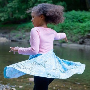 """Hello Chum"" Sharks Twirly Play Dress with Long Sleeves"