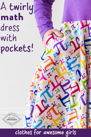 """Pi In The Sky"" Twirly Pi Play Dress with Long Sleeves"