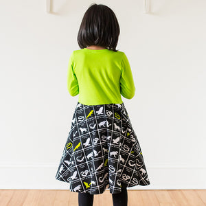 """Wickedly Brew-tiful"" Witches' Brew Twirly Play Dress with Long Sleeves - Princess Awesome - 4"