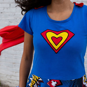 """Superheart"" Medical Superheroes Short Sleeve Adult Super Twirler with Cape"