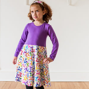 """Pi In The Sky"" Twirly Pi Play Dress with Long Sleeves - Princess Awesome - 2"