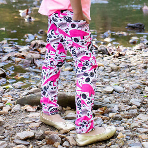 """Jurassic Pink"" Dinosaurs Leggings With Pockets"