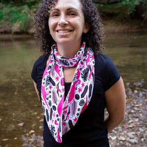 """Jurassic Pink"" Dinosaurs Infinity Scarf"