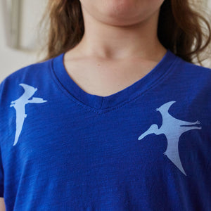 Flying Dinosaurs V-Neck Short Sleeve Shirt